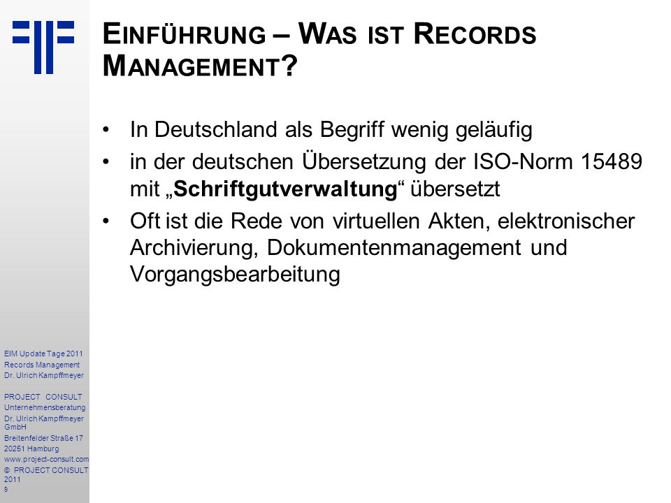 100 EIM Update Tage 2011 Records Management Dr.