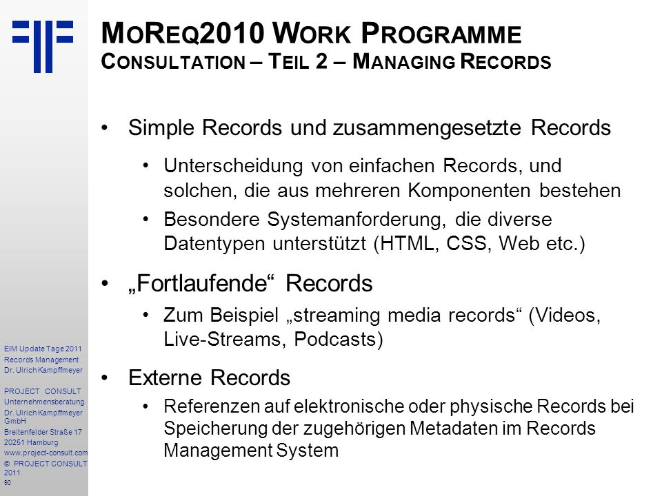 90 EIM Update Tage 2011 Records Management Dr.