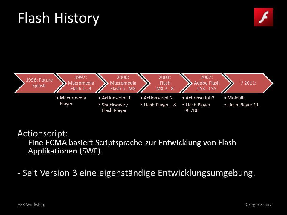 AS3 WorkshopGregor Sklorz Flash History 1996: Future Splash 1997: Macromedia Flash 1...4 Macromedia Player 2000: Macromedia Flash 5...MX Actionscript 1 Shockwave / Flash Player 2003: Flash MX 7...8 Actionscript 2 Flash Player...8 2007: Adobe Flash CS3...CS5 Actionscript 3 Flash Player 9...10 .