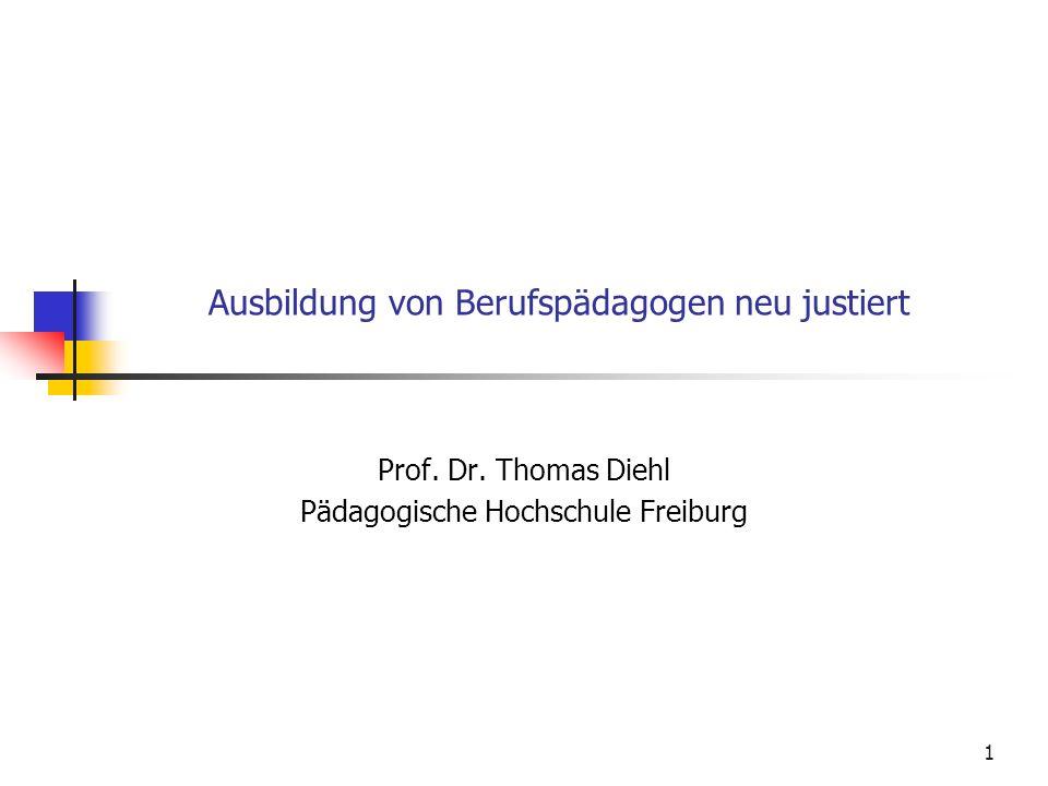 1 Ausbildung von Berufspädagogen neu justiert Prof.