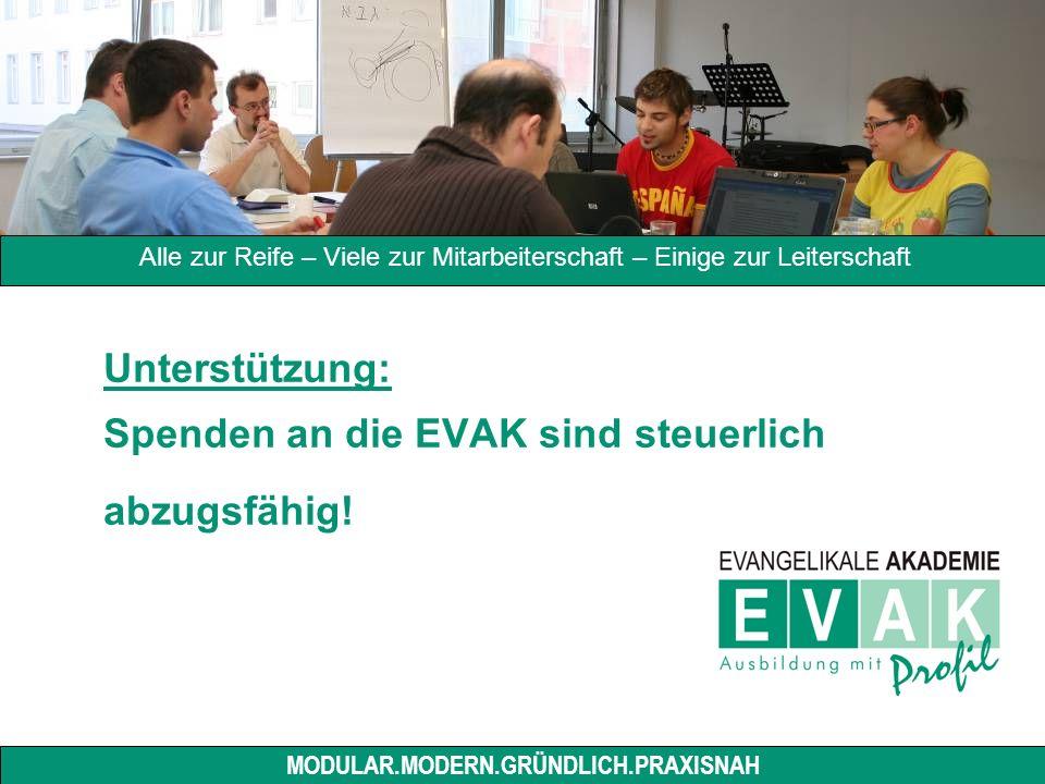 Unterstützung: Spenden an die EVAK sind steuerlich abzugsfähig.