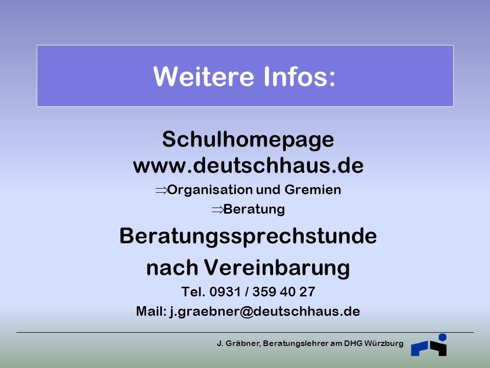 J. Gräbner, Beratungslehrer am DHG Würzburg Weitere Infos: Schulhomepage www.deutschhaus.de Organisation und Gremien Beratung Beratungssprechstunde na