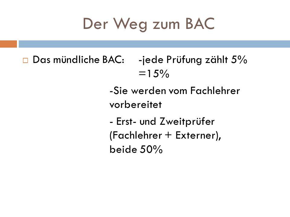 Der Weg zum BAC Das mündliche BAC:-jede Prüfung zählt 5% =15% -Sie werden vom Fachlehrer vorbereitet - Erst- und Zweitprüfer (Fachlehrer + Externer),