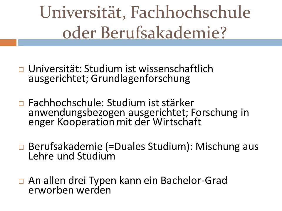 Universität, Fachhochschule oder Berufsakademie? Universität: Studium ist wissenschaftlich ausgerichtet; Grundlagenforschung Fachhochschule: Studium i