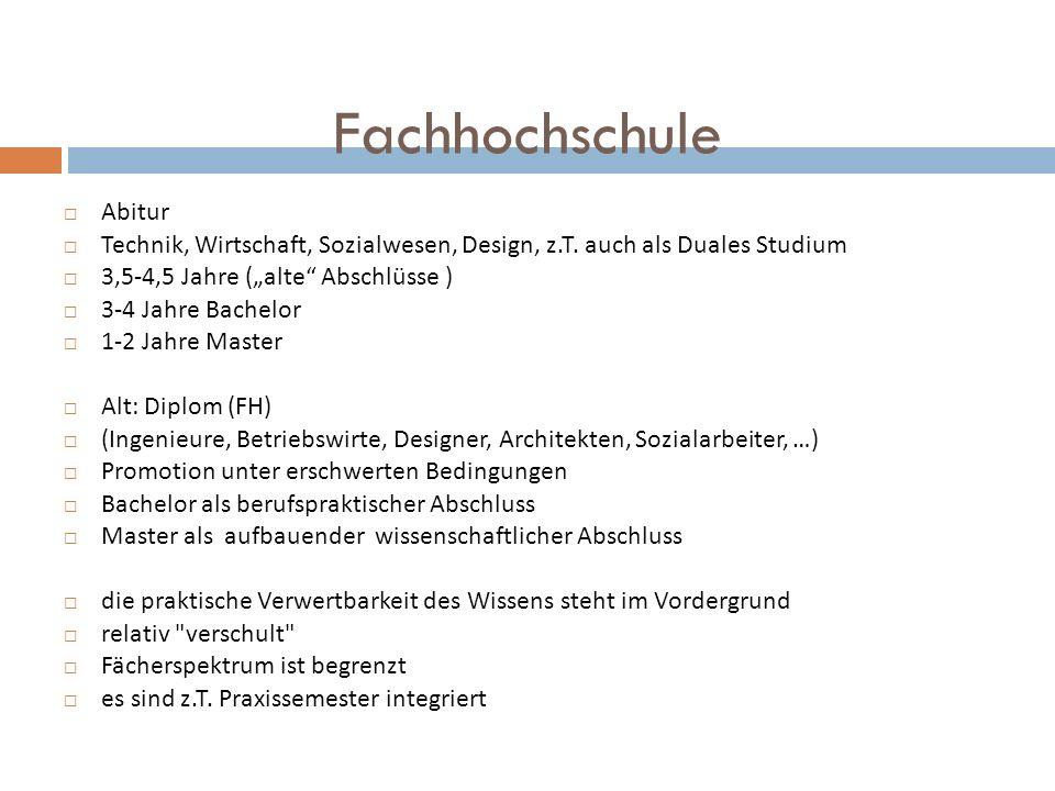 Fachhochschule Abitur Technik, Wirtschaft, Sozialwesen, Design, z.T. auch als Duales Studium 3,5-4,5 Jahre (alte Abschlüsse ) 3-4 Jahre Bachelor 1-2 J