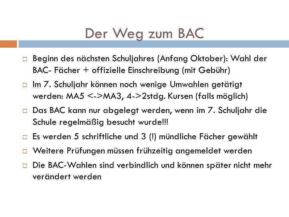 Der Weg zum BAC Beginn des nächsten Schuljahres (Anfang Oktober): Wahl der BAC- Fächer + offizielle Einschreibung (mit Gebühr) Im 7. Schuljahr können