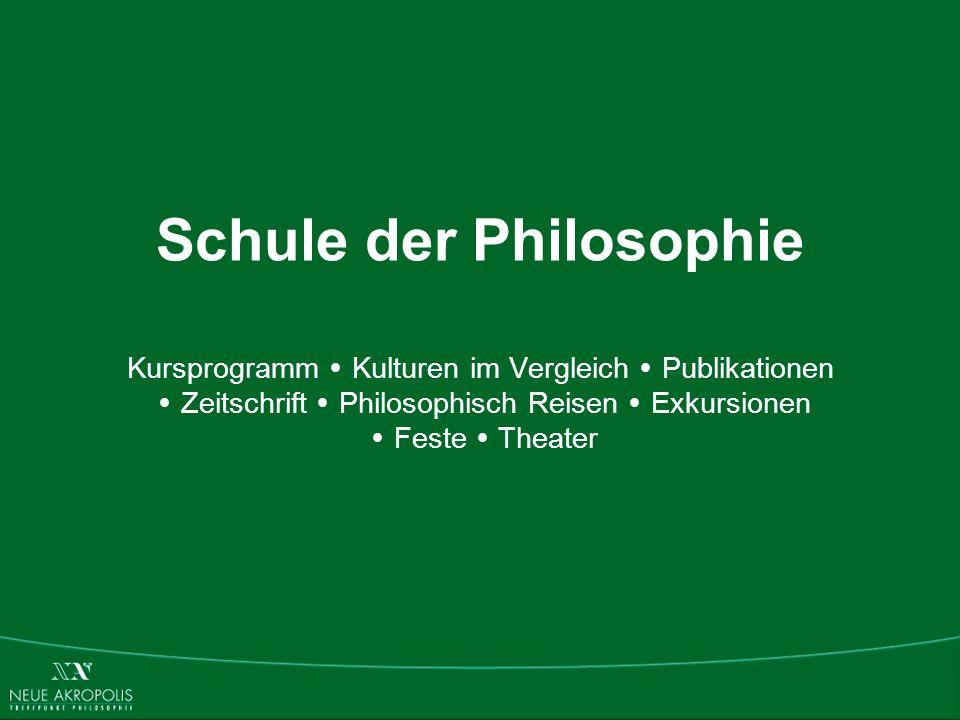 Schule der Philosophie Kursprogramm Kulturen im Vergleich Publikationen Zeitschrift Philosophisch Reisen Exkursionen Feste Theater