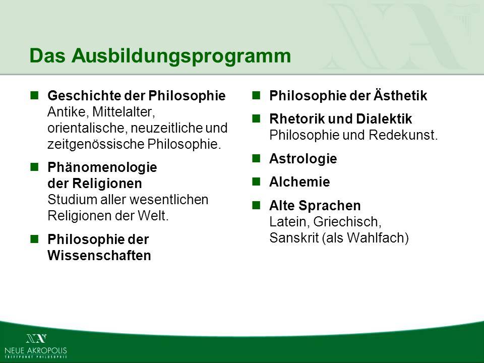 Das Ausbildungsprogramm Geschichte der Philosophie Antike, Mittelalter, orientalische, neuzeitliche und zeitgenössische Philosophie. Phänomenologie de