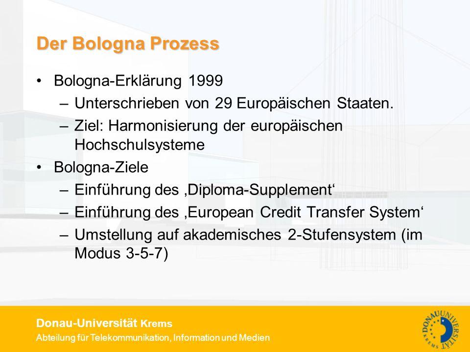 Abteilung für Telekommunikation, Information und Medien Donau-Universität Krems Der Bologna Prozess Bologna-Erklärung 1999 –Unterschrieben von 29 Europäischen Staaten.