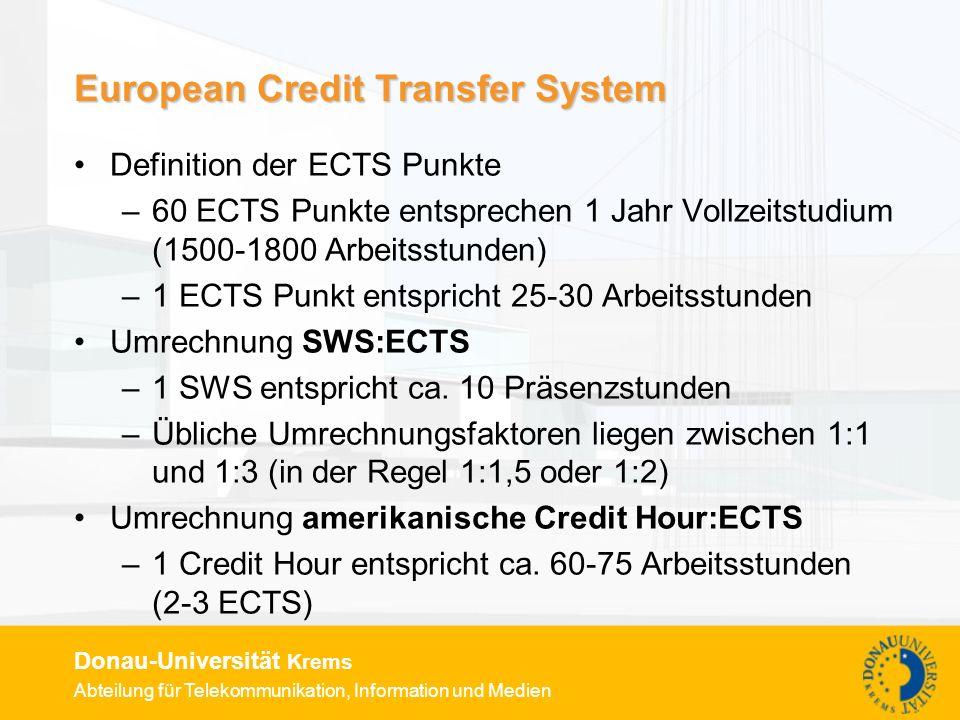 Abteilung für Telekommunikation, Information und Medien Donau-Universität Krems European Credit Transfer System Definition der ECTS Punkte –60 ECTS Pu