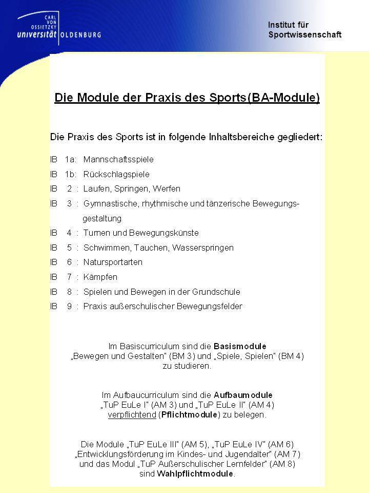 Institut für Sportwissenschaft Das Studium der Theorie und Praxis der Sportarten