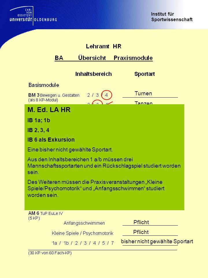 Institut für Sportwissenschaft Turnen Tanzen Basketball Handball Leichtathletik Volleyball Tennis Wahl nach Angebot Pflicht bisher nicht gewählte Sportart M.