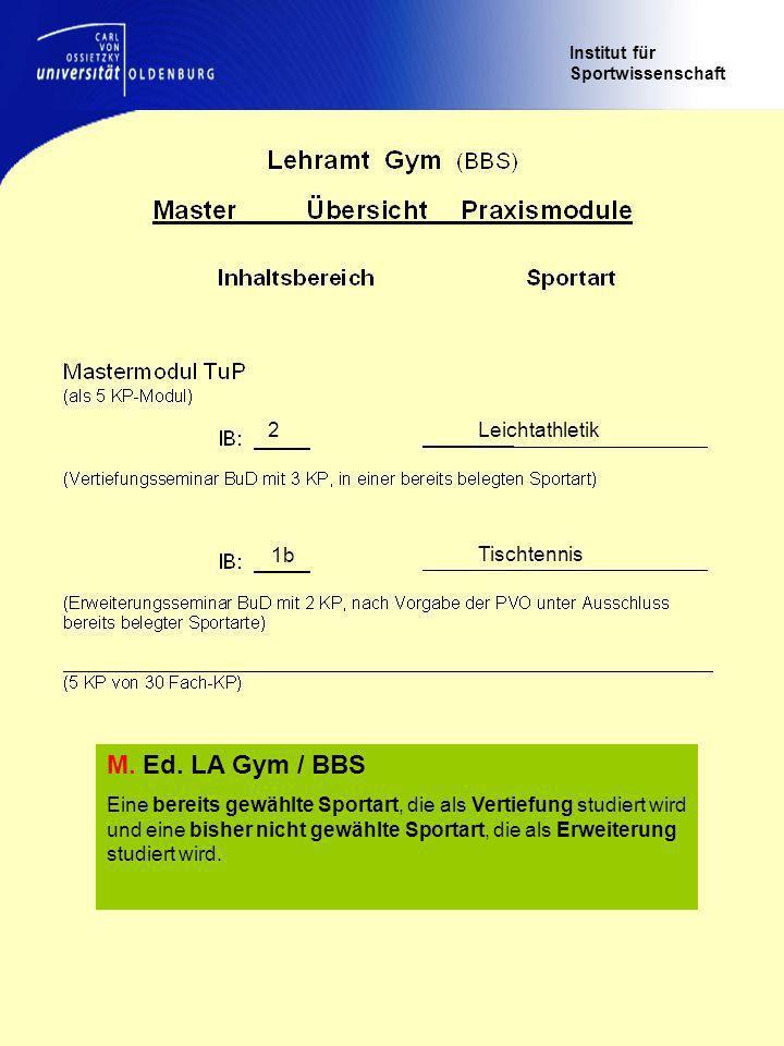 Institut für Sportwissenschaft Leichtathletik2 Tischtennis 1b M.