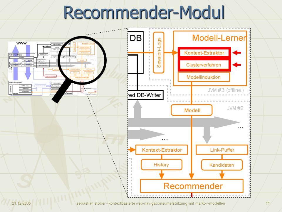 21.12.2005sebastian stober - kontextbasierte web-navigationsunterstützung mit markov-modellen11Recommender-Modul