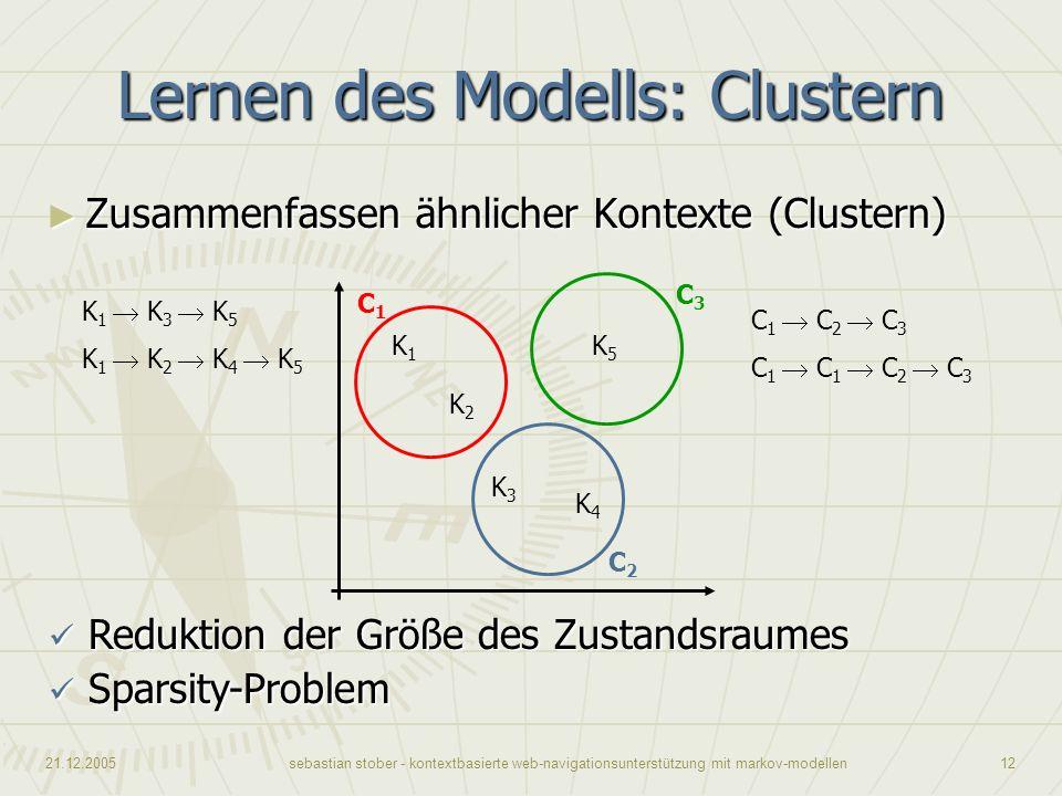 21.12.2005sebastian stober - kontextbasierte web-navigationsunterstützung mit markov-modellen12 Lernen des Modells: Clustern C1C1 C3C3 C2C2 Zusammenfa
