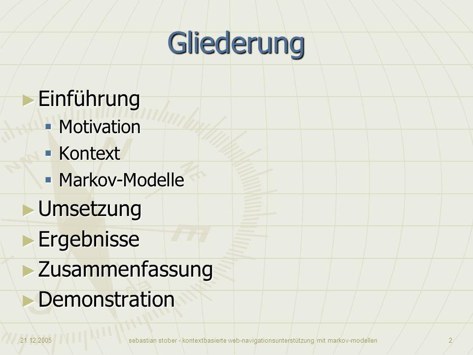 21.12.2005sebastian stober - kontextbasierte web-navigationsunterstützung mit markov-modellen2 Gliederung Einführung Einführung Motivation Motivation
