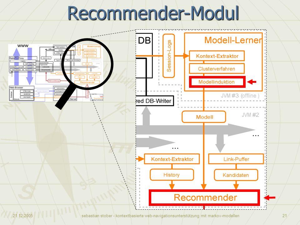 21.12.2005sebastian stober - kontextbasierte web-navigationsunterstützung mit markov-modellen21Recommender-Modul