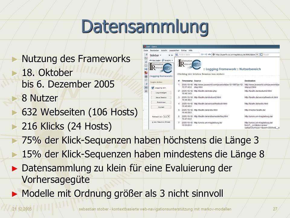 21.12.2005sebastian stober - kontextbasierte web-navigationsunterstützung mit markov-modellen27 Datensammlung Nutzung des Frameworks Nutzung des Frame