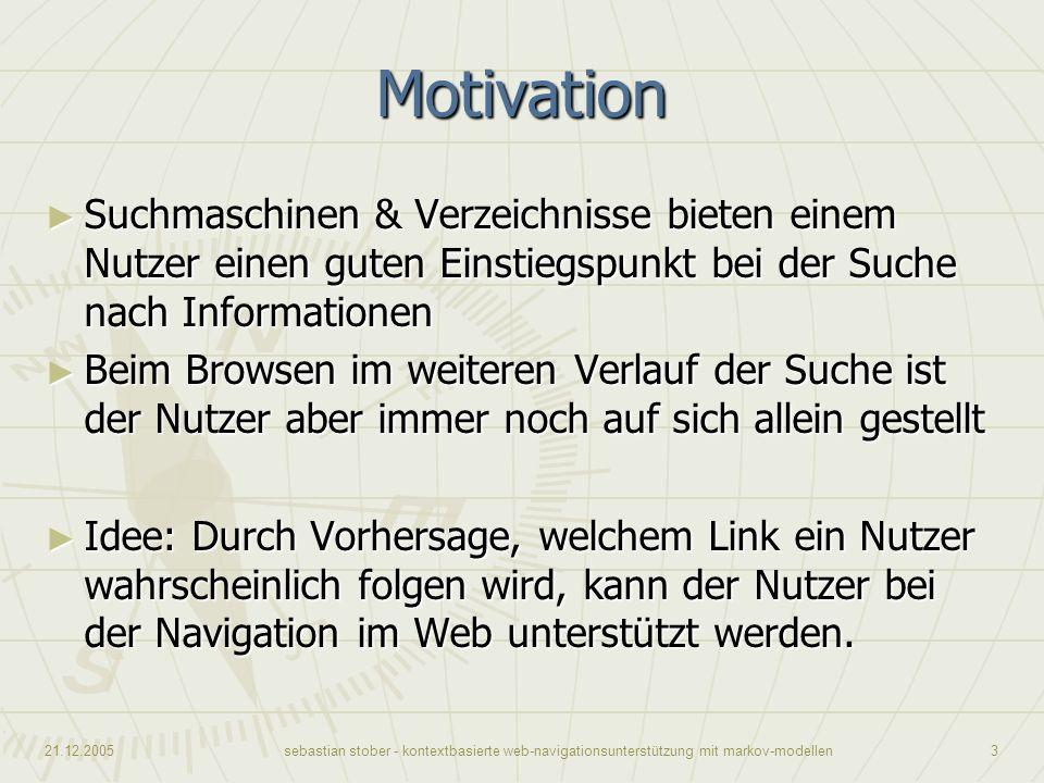 21.12.2005sebastian stober - kontextbasierte web-navigationsunterstützung mit markov-modellen3 Motivation Suchmaschinen & Verzeichnisse bieten einem N