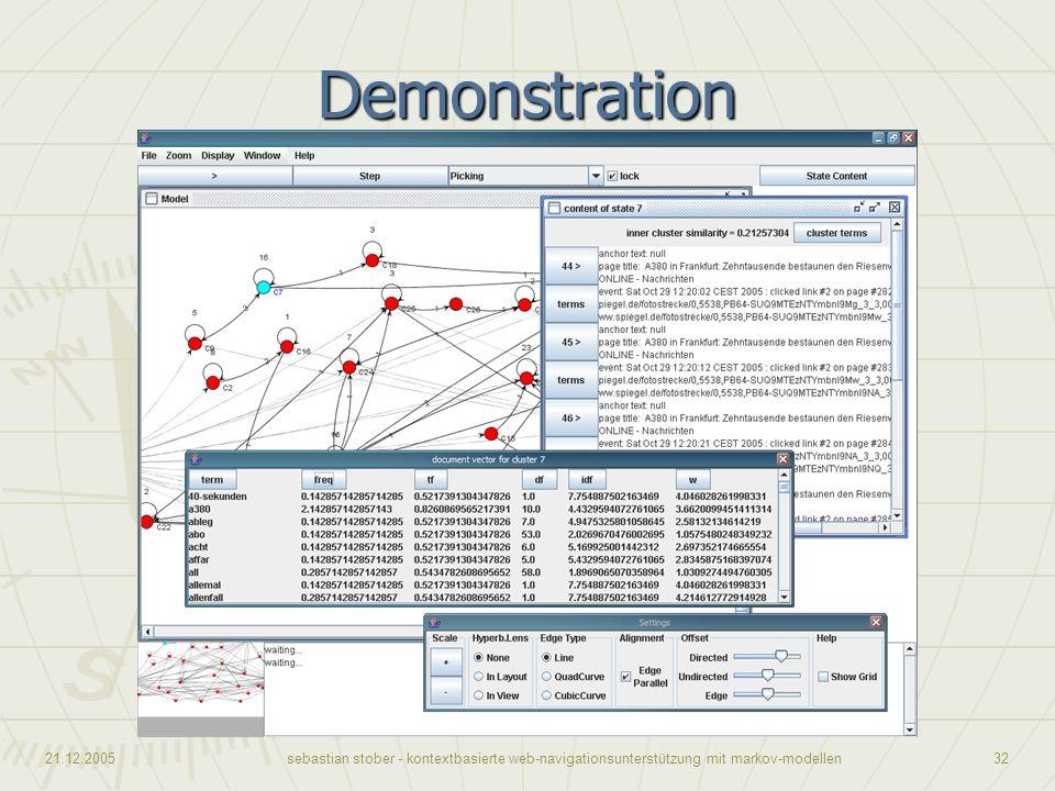21.12.2005sebastian stober - kontextbasierte web-navigationsunterstützung mit markov-modellen32 Demonstration