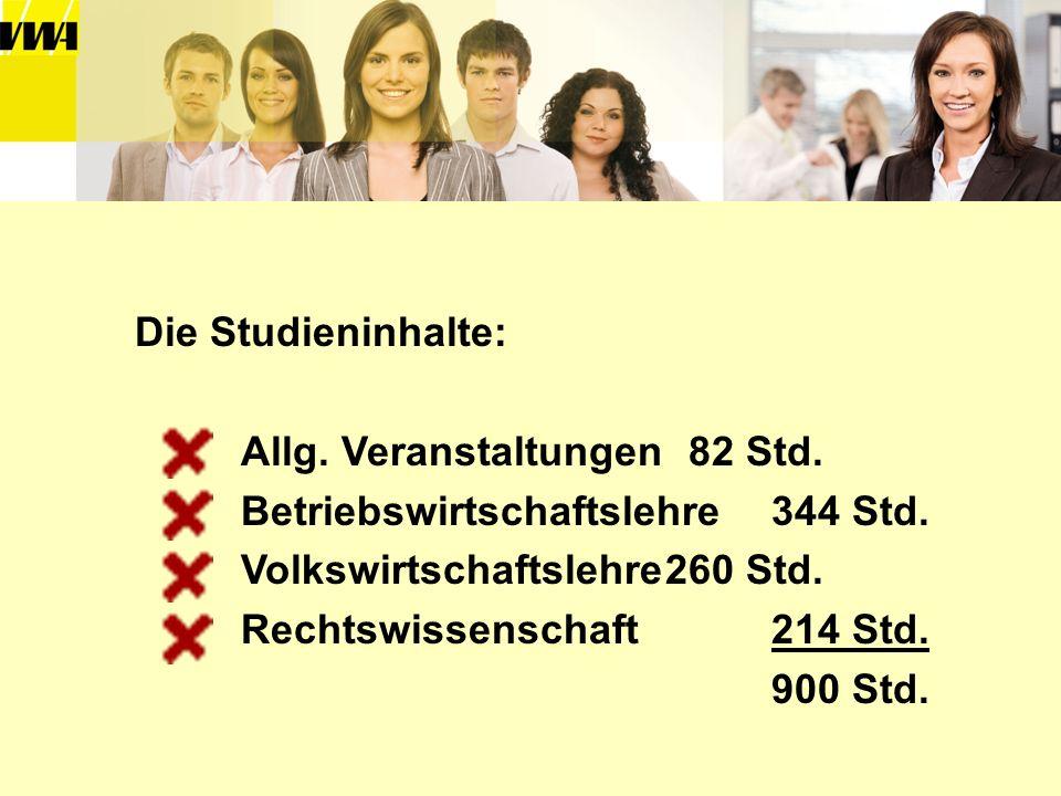 Die Studieninhalte: Allg. Veranstaltungen 82 Std. Betriebswirtschaftslehre344 Std. Volkswirtschaftslehre260 Std. Rechtswissenschaft214 Std. 900 Std.