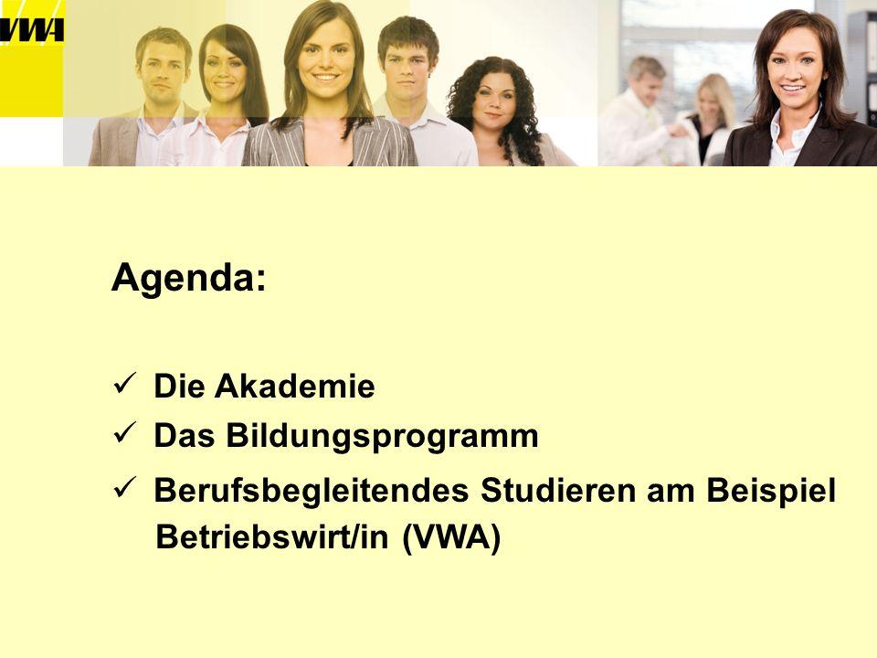 Agenda: Die Akademie Das Bildungsprogramm Berufsbegleitendes Studieren am Beispiel Betriebswirt/in (VWA)