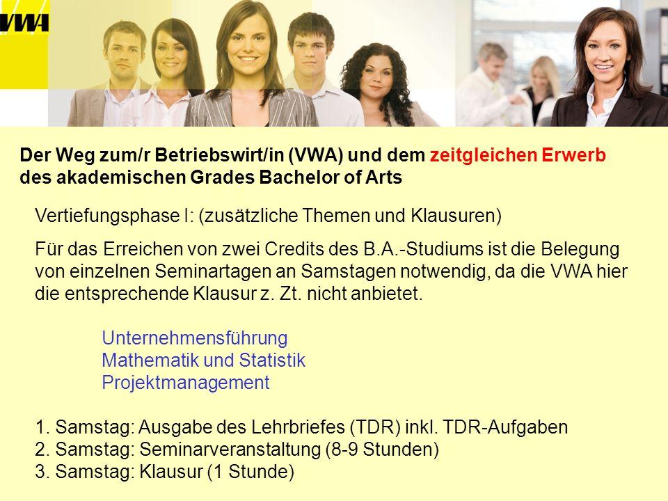 Vertiefungsphase I: (zusätzliche Themen und Klausuren) Für das Erreichen von zwei Credits des B.A.-Studiums ist die Belegung von einzelnen Seminartage