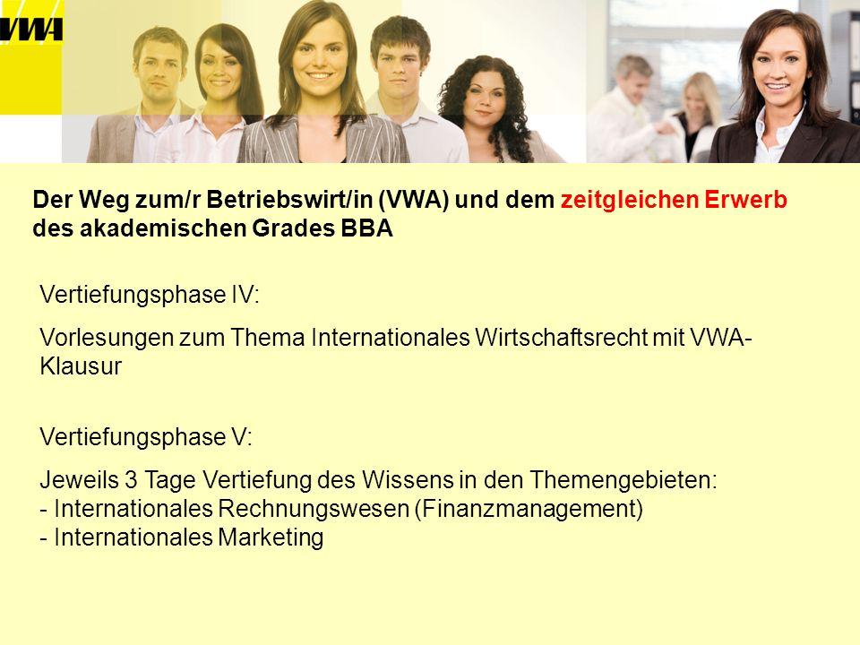 Der Weg zum/r Betriebswirt/in (VWA) und dem zeitgleichen Erwerb des akademischen Grades BBA Vertiefungsphase IV: Vorlesungen zum Thema Internationales
