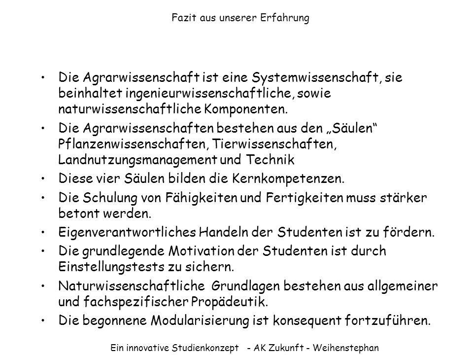 Ein innovative Studienkonzept - AK Zukunft - Weihenstephan Grundstudium – Semesterplan Beispiel für WS 03/04 (2 Wochen im Wintersemester, 2 weitere Wochen im Sommersemester)