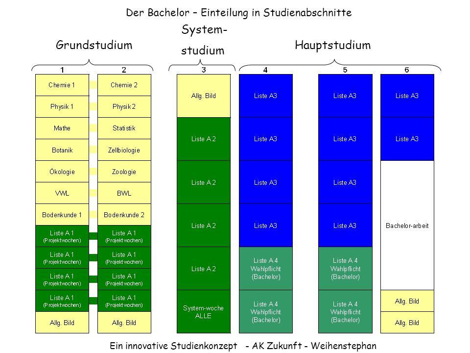 Ein innovative Studienkonzept - AK Zukunft - Weihenstephan Der Bachelor – Einteilung in Studienabschnitte HauptstudiumGrundstudium System- studium
