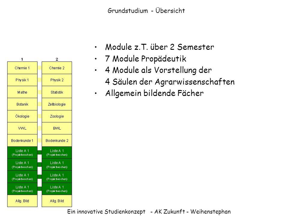 Ein innovative Studienkonzept - AK Zukunft - Weihenstephan Grundstudium - Übersicht Module z.T. über 2 Semester 7 Module Propädeutik 4 Module als Vors