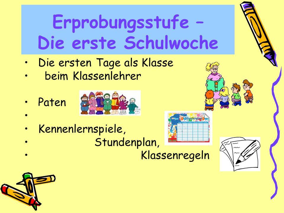 Erprobungsstufe – Die erste Schulwoche Die ersten Tage als Klasse beim Klassenlehrer Paten Kennenlernspiele, Stundenplan, Klassenregeln