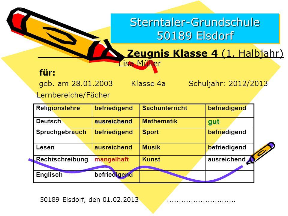 Sterntaler-Grundschule 50189 Elsdorf Zeugnis Klasse 4 (1.