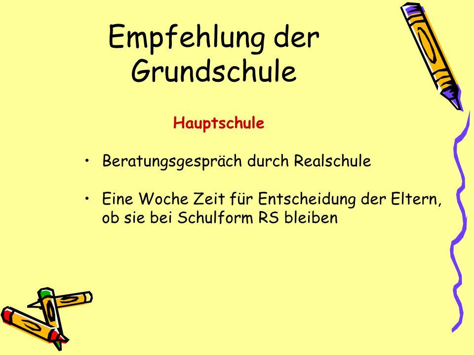 Empfehlung der Grundschule Hauptschule Beratungsgespräch durch Realschule Eine Woche Zeit für Entscheidung der Eltern, ob sie bei Schulform RS bleiben