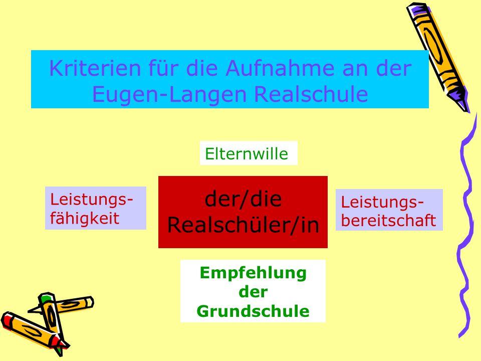 Kriterien für die Aufnahme an der Eugen-Langen Realschule der/die Realschüler/in Leistungs- fähigkeit Leistungs- bereitschaft Empfehlung der Grundschule Elternwille