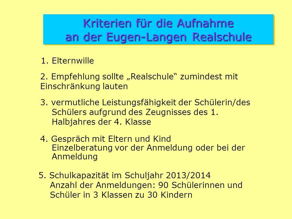 Kriterien für die Aufnahme an der Eugen-Langen Realschule 1.