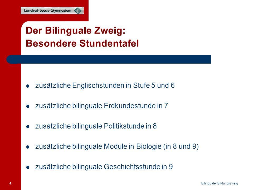 Bilingualer Bildungszweig 4 Der Bilinguale Zweig: Besondere Stundentafel zusätzliche Englischstunden in Stufe 5 und 6 zusätzliche bilinguale Erdkundestunde in 7 zusätzliche bilinguale Politikstunde in 8 zusätzliche bilinguale Module in Biologie (in 8 und 9) zusätzliche bilinguale Geschichtsstunde in 9
