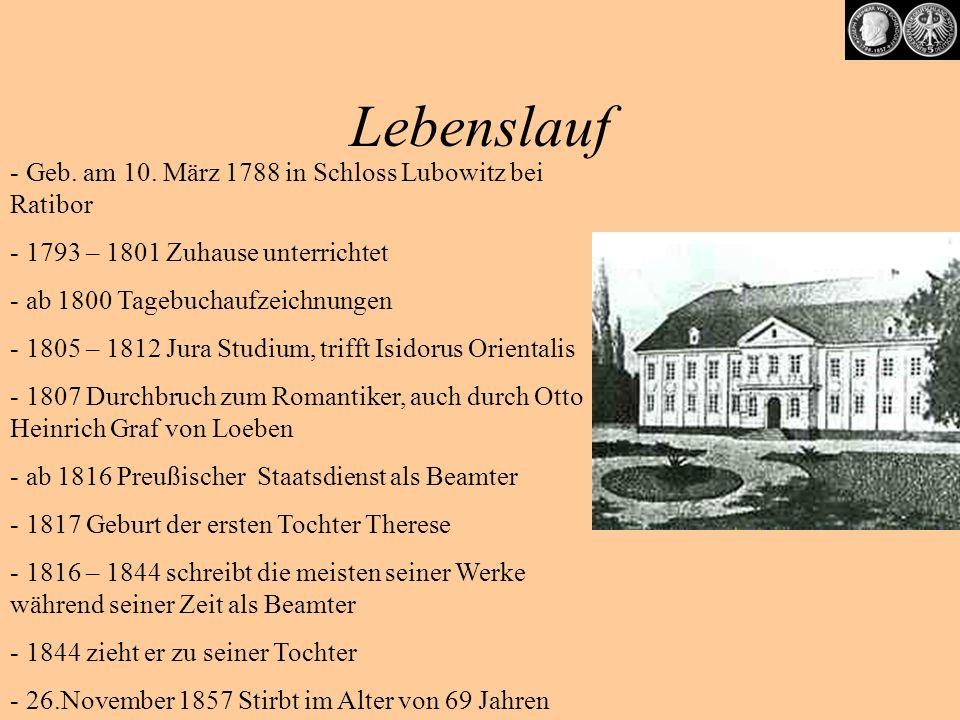 Berühmte Werke Romane und Erzählungen -1819 Das Marmorbild -1826 Aus dem Leben eines Taugenichts -1834 (oder 1838) Auch ich war in Arkadien -1836 Das Schloß Dürande -1849 Libertas und ihre Freier Gedichte -Die Riesen Anklänge (1808) -Abschied (1810) -Zwielicht (1812) -Sehnsucht (1834) -Schöne Fremde (vor 1834) -Wünschelrute (1835) - Die Mondnacht (1837) -Julian (Epos) (1853) -Robert und Guiscard (Epos) (1855) -Lucius (Epos) (1857)