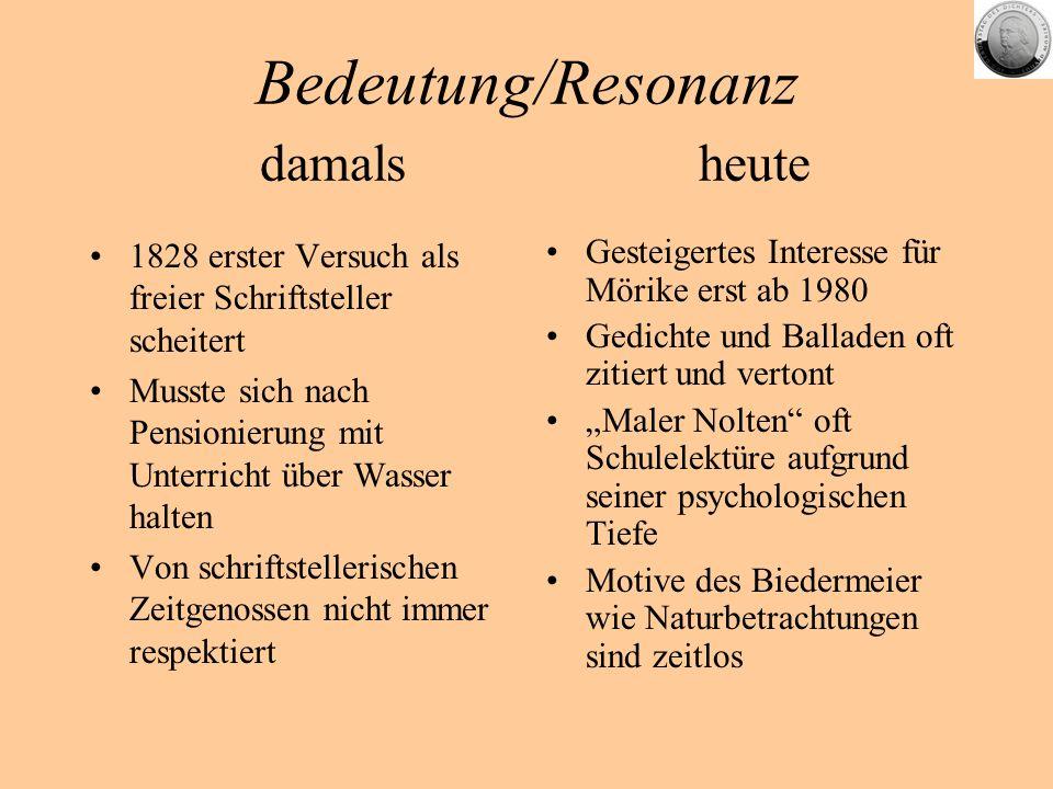 Bedeutung/Resonanz damals heute 1828 erster Versuch als freier Schriftsteller scheitert Musste sich nach Pensionierung mit Unterricht über Wasser halt