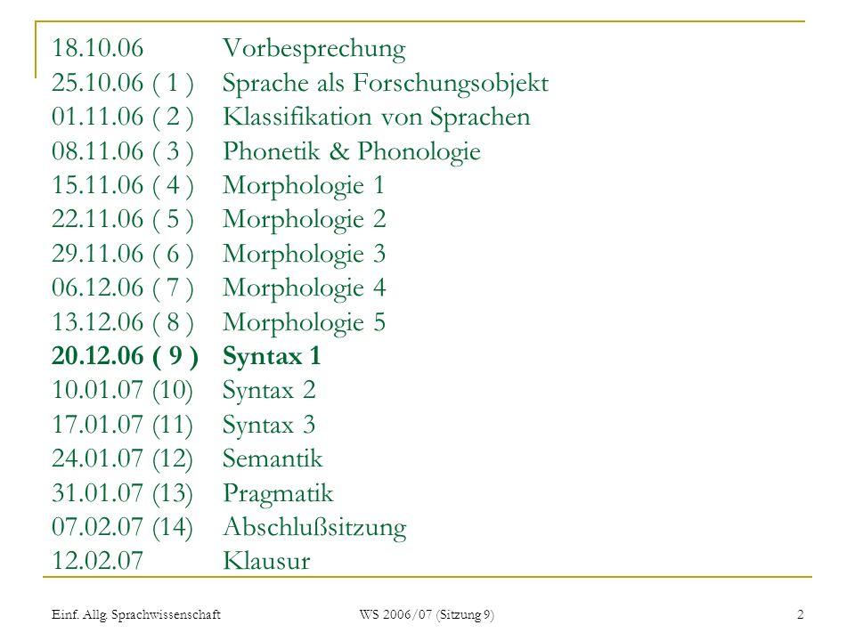 Einf. Allg. Sprachwissenschaft WS 2006/07 (Sitzung 9) 2 18.10.06Vorbesprechung 25.10.06 ( 1 ) Sprache als Forschungsobjekt 01.11.06 ( 2 ) Klassifikati