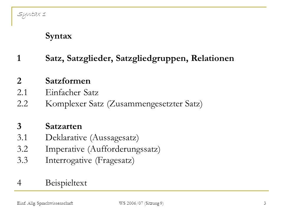 Einf. Allg. Sprachwissenschaft WS 2006/07 (Sitzung 9) 3 Syntax 1 Syntax 1Satz, Satzglieder, Satzgliedgruppen, Relationen 2Satzformen 2.1Einfacher Satz