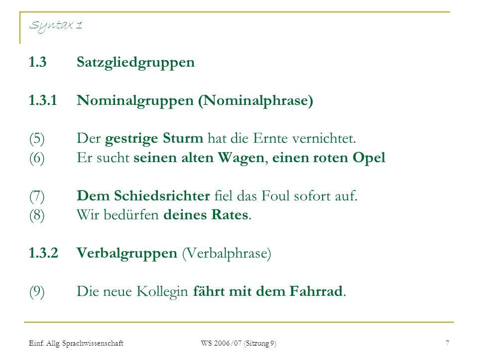 Einf. Allg. Sprachwissenschaft WS 2006/07 (Sitzung 9) 7 Syntax 1 1.3Satzgliedgruppen 1.3.1Nominalgruppen (Nominalphrase) (5) Der gestrige Sturm hat di