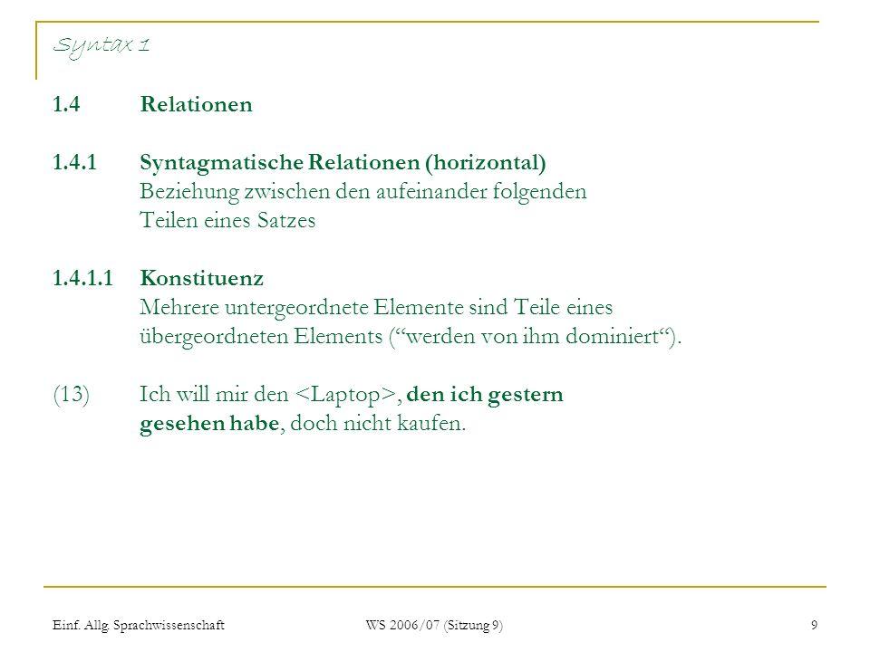 Einf. Allg. Sprachwissenschaft WS 2006/07 (Sitzung 9) 9 Syntax 1 1.4Relationen 1.4.1Syntagmatische Relationen (horizontal) Beziehung zwischen den aufe