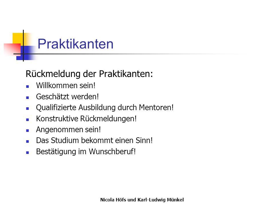 Nicola Höfs und Karl-Ludwig Münkel Praktikanten Rückmeldung der Praktikanten: Willkommen sein! Geschätzt werden! Qualifizierte Ausbildung durch Mentor