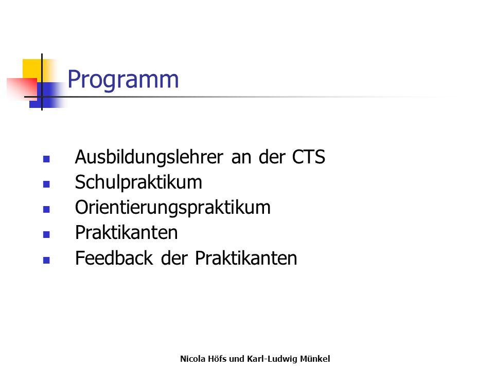 Nicola Höfs und Karl-Ludwig Münkel Ausbildungslehrerin an der CTS Frau OStR in Nicola Höfs seit 1992 im Schuldienst BWL GGK Ethik Industriekauffrau
