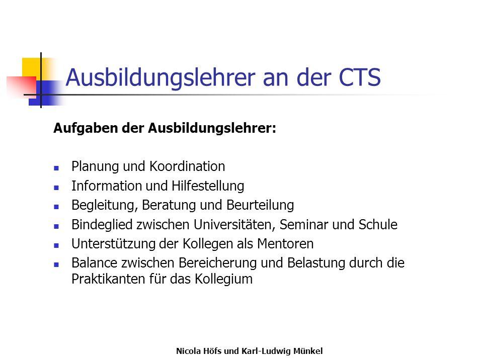 Nicola Höfs und Karl-Ludwig Münkel Ausbildungslehrer an der CTS Aufgaben der Ausbildungslehrer: Planung und Koordination Information und Hilfestellung