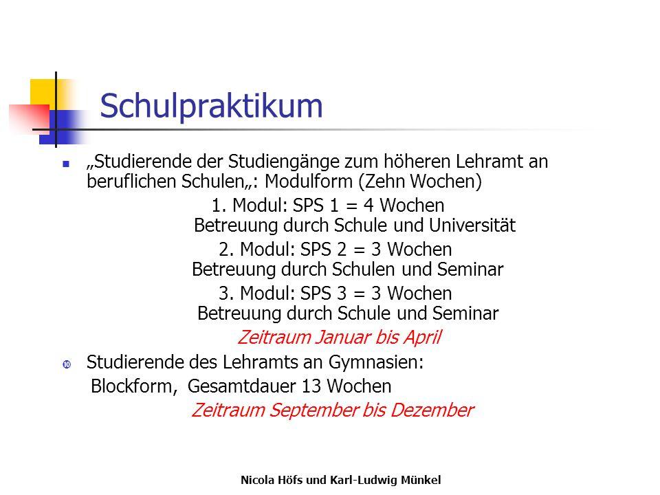 Nicola Höfs und Karl-Ludwig Münkel Schulpraktikum Studierende der Studiengänge zum höheren Lehramt an beruflichen Schulen: Modulform (Zehn Wochen) 1.