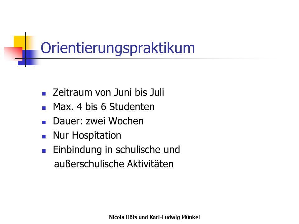 Nicola Höfs und Karl-Ludwig Münkel Orientierungspraktikum Zeitraum von Juni bis Juli Max. 4 bis 6 Studenten Dauer: zwei Wochen Nur Hospitation Einbind