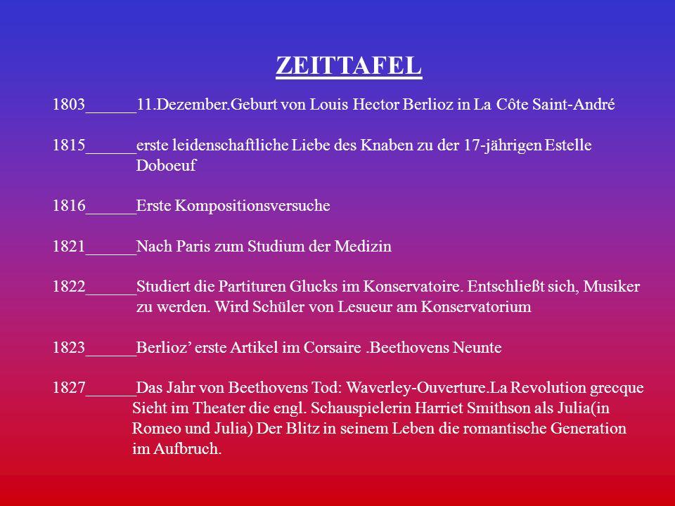 ZEITTAFEL 1803______11.Dezember.Geburt von Louis Hector Berlioz in La Côte Saint-André 1815______erste leidenschaftliche Liebe des Knaben zu der 17-jä