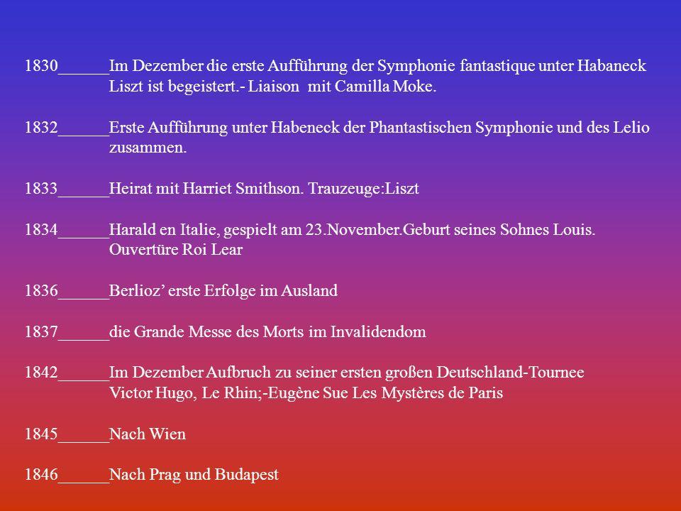 1830______Im Dezember die erste Aufführung der Symphonie fantastique unter Habaneck Liszt ist begeistert.- Liaison mit Camilla Moke. 1832______Erste A